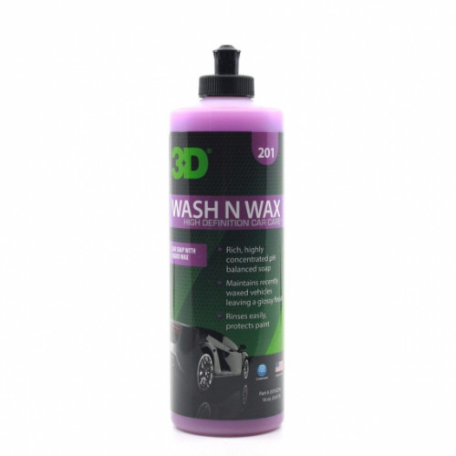 РH-сбалансированный шампунь с воском 2 в 1 для кузова 3D (0,47 л) - 5 Wash N Wax 201OZ16